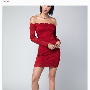 Bebe Red Lace Scallop Off The Shoulder Dress